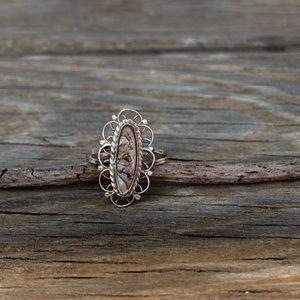 Vintage filigree shell ring